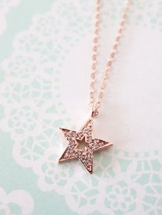 Lucky Star necklace - simple rose gold filled necklace with a lucky Star, crystal, chic, simple, best friends, sisters, www.colormemissy.com