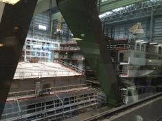 June 18 2014 - Tourist photo of Royal Caribbean International's Anthem of the Seas blocks inside Hall 6 at Meyer Werft Papenburg. In the background - the second Anthem of the Seas megablock.