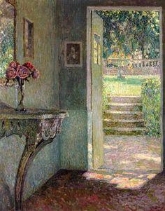 Henri Le Sidaner - The garden door, the console (1924)