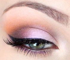 Дневной макияж зеленых глаз: лиловый оттенок