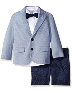 Small: 4pc Baby Toddler Kid Boys Silver Vest Navy Blue Pants Bow Tie Suits Set 0-6 months