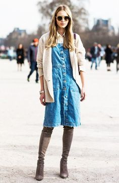 Such a cool model-off-duty look: button-down shirt layered underneath a denim dress and relaxed-fit blazer.