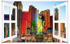 Amazon.com: HUANYI Statue-of-Liberty-Replica-in-las-Vegas 3D Window View Decal Wall Sticker Decor Art Mural: Home Improvement