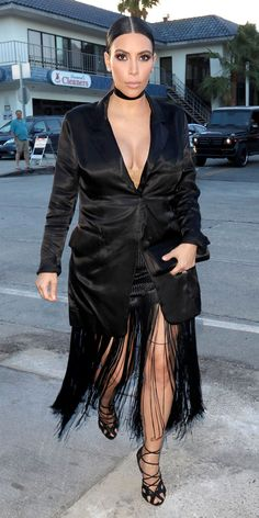 On her way to meet a friend for dinner in Los Angeles, Kardashian opted for a Maison Martin Margiela blazer, a Proenza Schouler skirt, and Tom Ford heels.