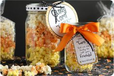 Halloween Centerpiece Crafts | Candy corn corn with yummy popcorn recipe and cute free printables.