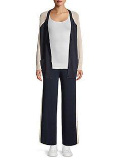 Women's Flares, Knit Cardigan, Color Blocking, Duster Coat, Closure, Pockets, Button, Shoulder, Amp