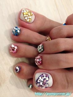 rhinestone hearts...cute but i would probably only do the big toe with the actual stones