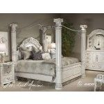 AICO Furniture - Monte Carlo II Poster Bedroom Set in Silver Pearl - N53000QP/N53000KP/N53000CKP-03  SPECIAL PRICE: $7,294.00