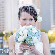 blue wedding bouquet, photo by Iliana Morton