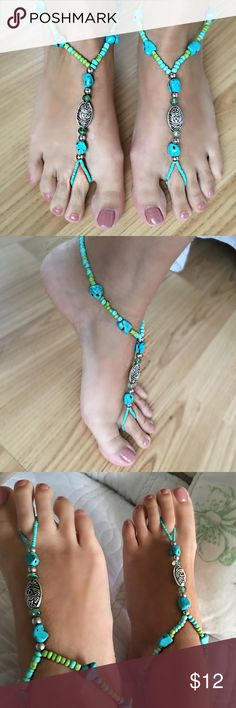 Tribal Foot Jewelry Bohemian foot jewelry is the perfect accessory for the beach. Wear with or without shoes. They can be worn with flip flops or dress of your casual sandals & heels. Turquoise stones and silver pendant. Jewelry Stretchy and slides on and off. Fits mostly anyone. Foot size in picture is women's size 7 for reference. Jewelry Bracelets