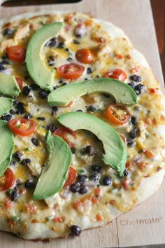 Pizza with Queso Sauce, Avocado, Cumin-Lime Chicken, and Black Beans
