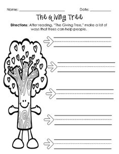 Freebie - The Giving Tree – A Common Core Unit Sample The Giving ...