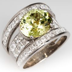 Large Chrysoberyl & Diamond Cocktail Ring Wide Band 18K