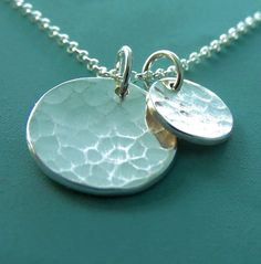Sterling Silver Necklace Hand Hammered Two Charms por esdesigns