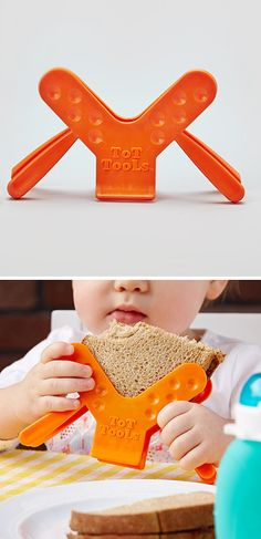 Sandwich holder for toddlers - securely keeps a sandwich in place. Great for fussy eaters.