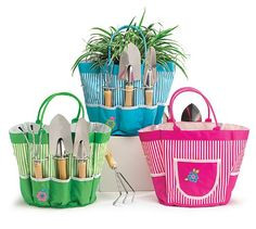 Groovy Garden Tools in Pink Nylon Tool Bag Gift Set