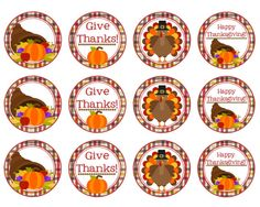 Printable Thanksgiving Cupcake  Food Toppers by Pinkowlpartydesign