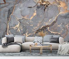 Abstract Wallpaper, Modern Art Wallpaper, Gray Gold Marble Wallpaper, Fluid Art Wall Mural, Alcohol Ink Wallpaper Mural Wall Covering