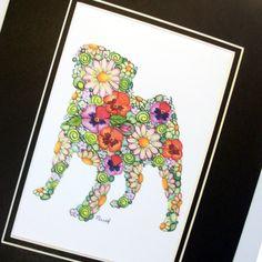 Art Print- Garden Pug Silhouette