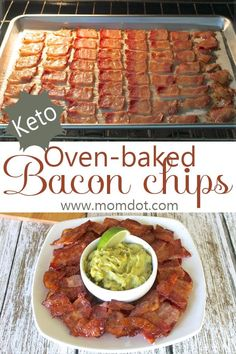 This Keto Snack is so simple, and OH, SO DELICIOUS! Paired with hummus, or this Keto guacamole, you'll love these Oven-Baked Bacon Chips! A delicious Keto snack! Bacon Recipes, Appetizer Recipes, Diet Recipes, Cooking Recipes, Healthy Recipes, Appetizers, Keto Snacks, Healthy Snacks, Simple Snacks