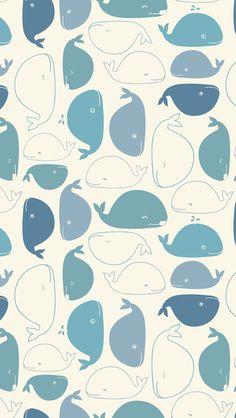 Vintage Whale Funny Doodle Drawing Pattern. Tap to see more of Vintage Art Wallpapers Collection. - @mobile9 #vintage #art #iphone