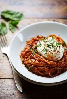 Spaghetti Marinara with Poached Eggs