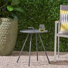 51 Outdoor Side Tables That Will Add Convenience To Your Outdoor Experience Metal Side Table, Modern Side Table, Solid Wood Dining Table, Outdoor Side Table, Patio Tables, Side Tables, Steel Frame Construction, Modern Patio, Studio