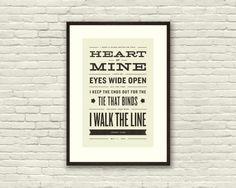 JOHNNY CASH Walk The Line Lyric Poster  11 by CONCEPCIONSTUDIOS, $20.00