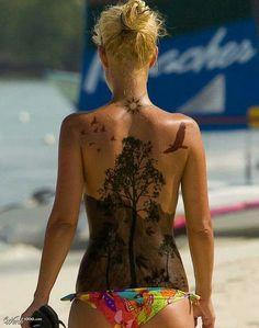 Landscape back tattoo