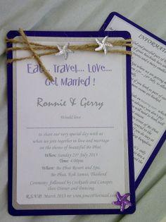 Purple  #beach #wedding #invitation www.loveitsomuch.com