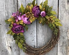 Spring Door Wreath Spring Wreath Spring Wreaths for Front Double Door Wreaths, Spring Front Door Wreaths, Spring Wreaths, Easter Wreaths, Christmas Wreaths, Diy Wreath, Grapevine Wreath, Wreath Ideas, Purple Wreath