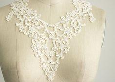 Ivory Venice Lace Applique Collar / Venetian Lace by CraftCabaret