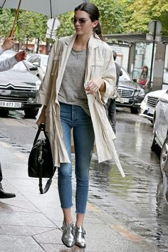 Coat with jeans and metallic loafers
