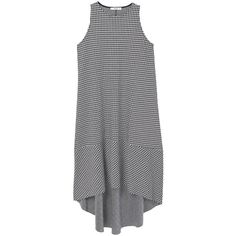 MANGO Gingham check dress (935 MXN) ❤ liked on Polyvore featuring dresses, tops, round neck dress, flare dress, asymmetrical hem dress, flared dresses and gingham print dress