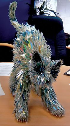 Shattered CDs Made intoAnimals - BoredFactory - We solve your boredom.