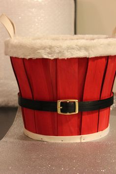 Painted and embellished Santa Belt Basket    Lightweight wooden basket with fluffy trim- great for photo props, gift holders, holiday