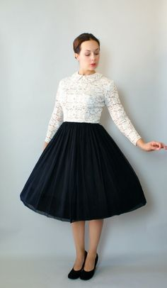 Vintage 1950s Lace and Chiffon Party Dress  50s by Sweetbeefinds, $128.00