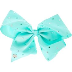 JoJo Siwa Large Rhinestone Mint Signature Hair Bow ($35) ❤ liked on Polyvore featuring accessories, hair accessories, sparkly hair bows, sparkly hair accessories, siwa, bow hair accessories and hair bows