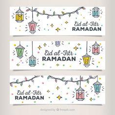 Set of hand drawn eid al fitr banners Free Vector Eid Banner, Eid Mubarak Banner, Eid Mubarak Greetings, Happy Eid Mubarak, Eid Wishes Quote, Eid Envelopes, Eid Card Designs, Iphone Wallpaper Quotes Love, Eid Cards