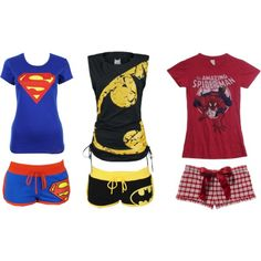 Super hero pajamas for grown up girls :)) LOVE LOVE LOVE!!! Beau from blessthefall has the batman shorts. Love the Spider-Man one!