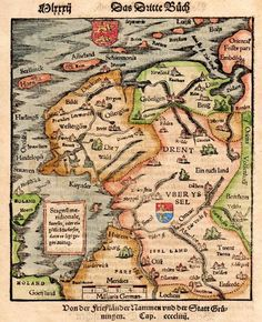 Very attractive and early antique map of Frisia, Groningen, Drenthe,Overijssel and partly Gelria by Sebastian Munster, (Cosmographia) printed in shields etc. Vintage Maps, Antique Maps, Early World Maps, Michael Jennings, France Map, Country Maps, Old Maps, City Maps, Historical Maps