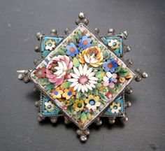 VICTORIAN ITALIAN MICRO MOSAIC BROOCH / PIN FLORAL CLUSTER PIN on ebay