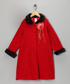 Take a look at this Red Rosette Coat - Toddler & Girls by LA Sun on #zulily today!