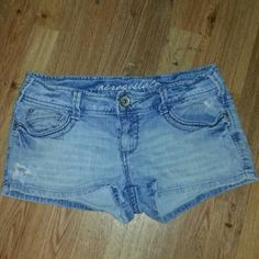 SHORTS WILL BE GONE SOON Destroyed denim good shape juniors 9/10 donating soon if not sold Aeropostale Shorts Jean Shorts