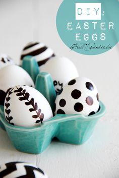black white easter eggs