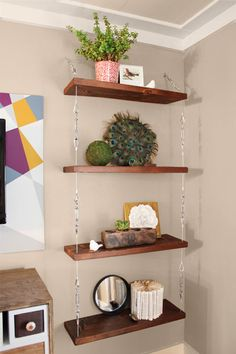 *Great way to free up floor space, esp. in LR. See karapaslaydesigns.com/blog. hanging shelves made with cable and turnbuckles, easy upgrade projects from home bloggers