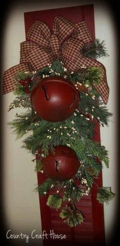 I have the shutter.would use rusty bells instead of red ones.maybe add a Merry Christmas sign or burlap ribbon? by Rachael Shannon Shaw Merry Christmas Sign, Primitive Christmas, Country Christmas, Outdoor Christmas, Winter Christmas, Christmas Holidays, Christmas Wreaths, Christmas Ornaments, England Christmas