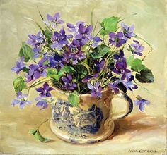 Purple Violets | Mill House Fine Art – Publishers of Anne Cotterill Flower Art