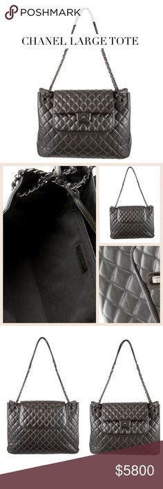 """CHANEL LARGE GRAY LEATHER TOTE Chanel quilted leather tote w gunmetal hardware, chain-link/leather shoulder straps, single pocket at back, 1 pocket under flap, grey woven int lining, 3 pockets at int walls; 1 w zip closure & front CC turn-lock closure. Approx: Drop 12.5"""", H: 10.5"""", W: 15"""", D: 4"""". Condition: Excellent. Pics reflect: Ext: Min corner wear & creasing; light hardware scratches, int: light wear. Posh concierge will Auth! Auth card & dust bag included. PLEASE MAKE OFFER! :)…"""