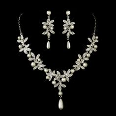 Jewelry for the Bride - Antique Silver Diamond White Pearl StressAwayBridalShop.com
